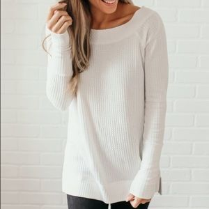 Tops - Boatneck Waffle Knit Top - Ivory